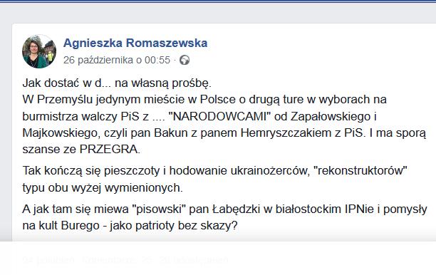 Romaszewska o 1 turze wyborów w Przemyślu