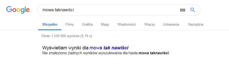 Mowa taknawiści nie ma w Google
