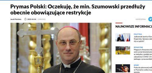 Screenshot_2020-04-08 Prymas Polski Oczekuję, że min Szumowski przedłuży obecnie obowiązujące restrykcje